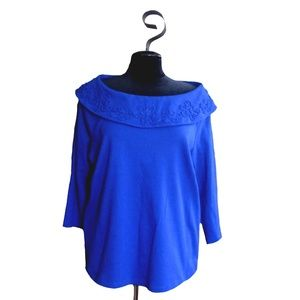 Rafaella Royal Blue Boat Collar Cotton Top ~ 1X